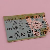 Wisconsin Badgers vs Michigan State Ticket Stub 1963 Basketball Game Field House