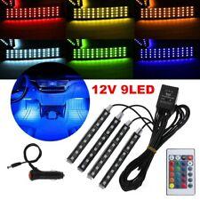 9LED coche Interior RGB LED Luces de tira Ambiente Lámpara de música de neón