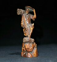 Collect Old natural Boxwood hand carved Japanese woodcutter happy Statue netsuke