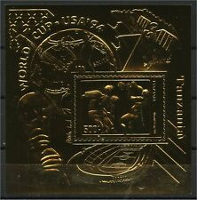 TANZANIA, 22K GOLD FOIL STAMP SOCCER CUP / SPACE / COMMUNICATION 1996