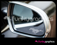 FORD MUSTANG HORSE MIRROR DECALS STICKERS GRAPHICS DECALS x 3 IN SILVER ETCH