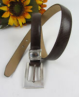 Vintage BRIGHTON Brown Lizard Skin Leather Dress Belt ~ Size 28""