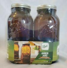 ***New***Ball Wide Mouth Mason Jars, Anti UV Amber Glass 64oz Jar, Set Of 2