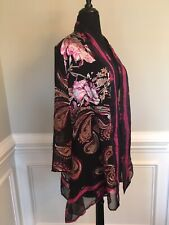 New Chico's Travelers Vibrant Floral Open Front Top Jacket Chicos Size 1 (6-8)