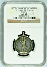 Swiss Silver Shooting Medal 1852 Zurich R-1936a Girl Switzerland NGC AU58