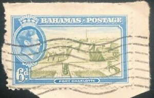 Bahamas 1938 King George VI. 6 P blue /olive green On Cover (Collectible Stamp)
