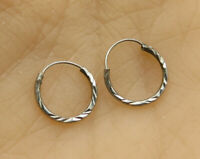 925 Sterling Silver - Vintage Petite Textured Hoop Earrings - E1860