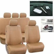 PU Leather Car Seat Covers Complete  Tan Free Gift Dash Grip Pad