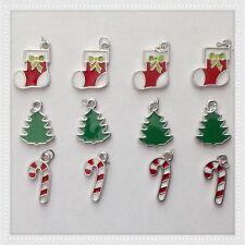 12 Enamel Christmas Tree Stocking Candy Cane Charms Jewelry Making X3