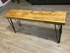 Rustic industrial Bench with Hairpin Legs - Reclaimed Solid Wood Chunky timber