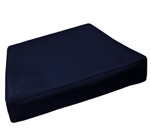 pe249t Deep Blue Faux Leather Classic Pattern 3D Box Cushion Cover Custom Size