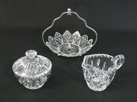 Vintage Set of Clear Glass Sunflower-Shaped Bowl on metal, Sugar Bowl with Lid a