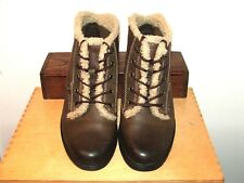 NEW Clarks Warm Lined Brown Leather Lace-Up Ankle Boots Low Block Heel UK 4.5