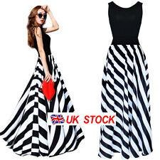 UK Womens Strip Print Short Sleeve Boho Maxi Dress Evening Party Long Maxi Dress