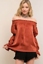 ENTRO Solid Faux Silk Off-Shoulder Tunic Top Ruffle Sleeves Cinnamon MED Reg $35