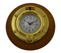 "Brass Porthole Desk Clock on Wood Base 4.75""Dia  Replica Desk Mantle Ship Boat"