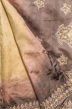 Vintage Indian Pure Tussar Silk Saree Embroidered Sari Antique Textile Sarong