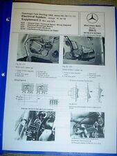 Mercedes 280S W108 Electrical Sys. & Power Windows Service Repair Manual 1966-up