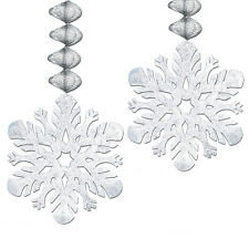 SNOWFLAKE Danglers Silver Foil FROZEN Winter Christmas Birthday Party Decoration