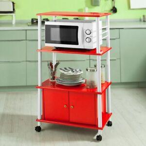 SoBuy® Etagère pour micro-ondes, Meuble rangement cuisine, roulant, FRG12-R, FR