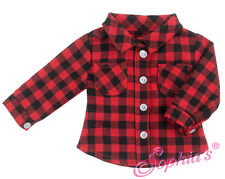 "Red/Black Plaid Camping Shirt for 18""  American Girl Boy Logan Doll Clothes"