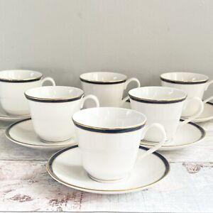 6 Royal Doulton, Oxford Blue, New Romance Tea Set Teacups Are Saucers