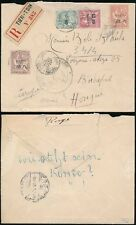 CHINA 1910 FRENCH P.O REGISTERED 4 COLOUR FRANKING + NAVAL MARITIME to HUNGARY