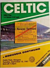 More details for celtic v borussia dortmund programme + ticket uefa cup 1st rd. 1st leg 15/9/1987