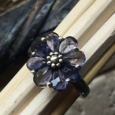Genuine 6ct Iolite Water Sapphire 925 Solid Sterling Silver Flower Ring sz 8