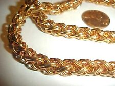 42 INCHES VINTAGE SOLID BRASS 8mm. THICK DOUBLE ROPE CHAIN    L948