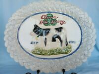 COW Platter Serving Tray Omnibus By Fitz & Floyd Hand Painted Blue Basket Weave
