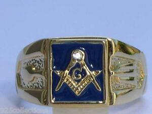 Masonic Mason Blue Enamel Compasses Clear Austrian Crystal Men's Ring Size 11