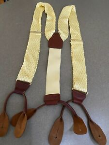 Vintage 1980s CAS West Germany Suspenders Pale Yellow Knit Brown Leather Fitting