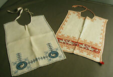 2 Vintage Baby Bibs - Hand Made Linen Embroidered Graphics - Red & Blue - 44