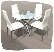 Pino 5 Piece White Faux Leather Chrome 1000mm Dining Setting - BRAND NEW