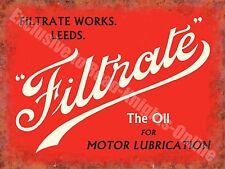 Filtrate Motor Oil Leeds Old Vintage Garage Advertising Medium Metal/Tin Sign