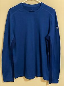 Smartwool Mens Merino Wool Base Layer Long Sleeve Shirt Blue ~ Size MEDIUM