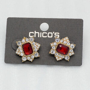 chico's jewelry red cut glass crystals rhinestone clip stud earrings for girls