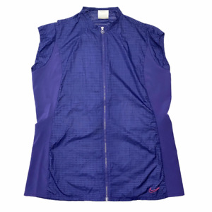 Nike Golf Tour Performance Womens Vest Blue Mesh Full Zip Front Cap Sleeve L