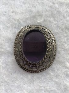 Antique Hatpin Final Victorian 1880s Amethyst Coloured Glass White Metal Frame