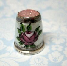 Old Thimble German Sterling Pink Rose White Guilloche Enameling Pink Stone Top