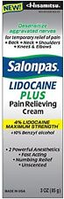 Salonpas LIDOCAINE PLUS Cream! Maximum Strength 4% Lidocaine Numbing 3 oz 2pk