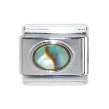 Oval Mother of pearl shell Italian charm - fits 9mm classic Italian charms