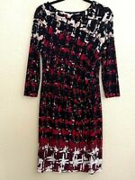 Apt. 9 Womens Sheath Dress Red Geometric Knee Length Scoop Neck 3/4 Sleeve XS