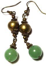 Green Agate Earrings Antique Bronze Style Pierced Hooks Drop Dangle Boho Hippy