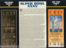 Super Bowl XXXV 35 Gold Replica Ticket Sealed in 9x12 Card Ravens vs NY Giants