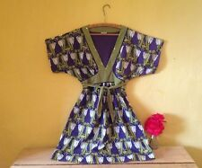 Oasis boho retro 70's look size 10 purple green floral sequinned bow smock dress