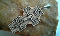 "VINTAGE RUSSIAN SILVER ""875"" with GOLD PLATING ORTHODOX CRUCIFIX with PSALM 68"