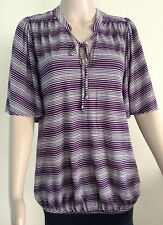 MONSOON TOP, NEW, BEAUTIFUL PURPLE/SILVER/GREY STRIPED, SIZE 10, PARTY, HOLIDAYS