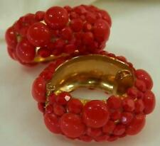 Sparkly Cool Vintage 70's Hinged Clamp Clip Red Glass Cab Earrings 474J6